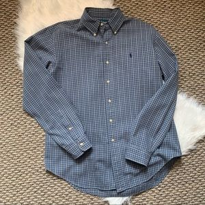 Ralph Lauren Blue Plaid Button Down Top Shirt L